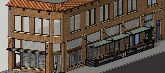 Plans call for a street-level restaurant with outdoor seating along Eighth Street at the former site of Round Corner Pharmacy, 801 Mass. This rendering comes from struct/restruct LLC, the construction/design firm working on the project.