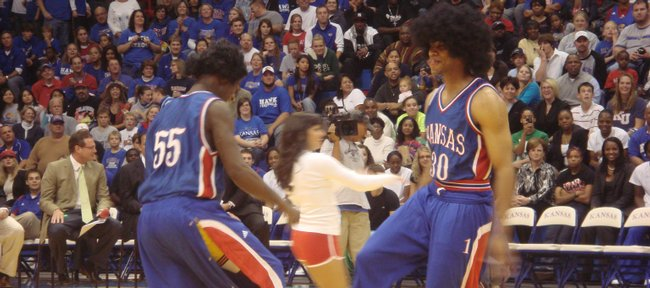 Kansas freshman Xavier Henry, right, dances during a skit at last year's Late Night in the Phog.