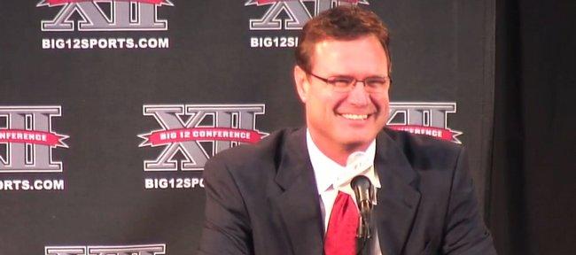 Kansas coach Bill Self laughs between questions during Big 12 media day Thursday in Kansas City, Mo.