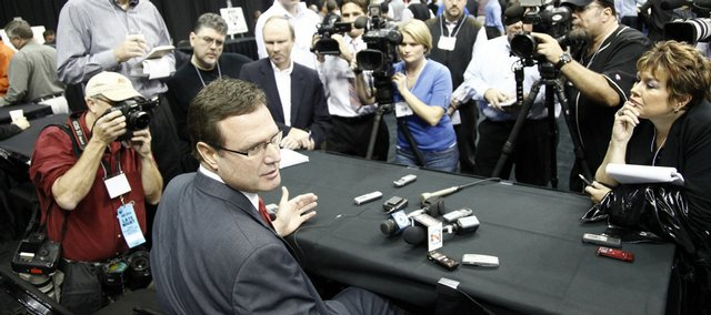 Kansas head coach Bill Self answers questions during Big 12 men's media day Thursday, Oct. 22, 2009 at the Sprint Center.