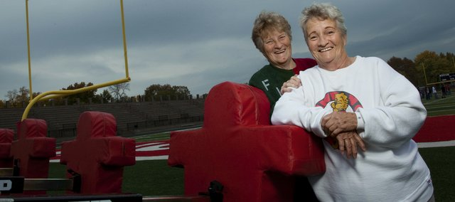 Sisters Imogene Kilgore, left, and Mary Jo Elston have been attending local high school football games for the past 50 years, often arriving an hour and a half early to ensure a good seat on the 50-yard line.