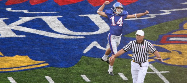 Kansas kicker Jacob Branstetter celebrates a 57-yard field goal going in to halftime against Oklahoma Friday, Oct. 24, 2009.