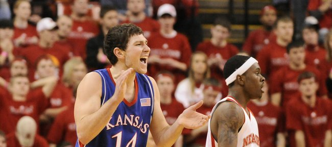 Kansas guard Tyrel Reed claps in celebration as the Jayhawks take control of the game late in the second half Wednesday, Jan. 28, 2009 at the Devaney Center in Lincoln.