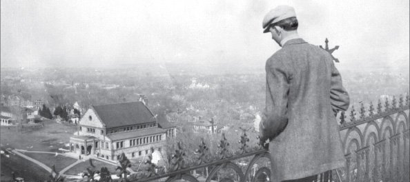 Spooner Hall as seen from the rooftop of Old Fraser Hall in 1900.