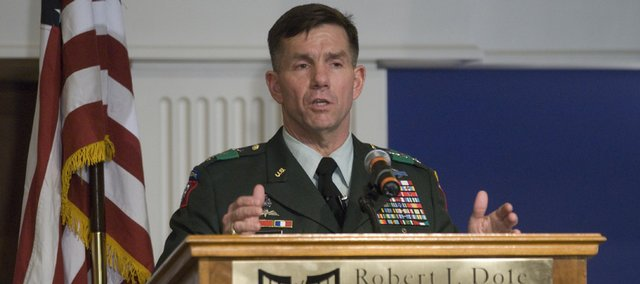 U.S. Army Lt. Gen. William Caldwell an audience at the Dole Institute of Politics in this 2007 file photo.