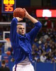 Kansas center Cole Aldrich pulls up for a shot during warmups before tipping off against Fort Hays State, Tuesday, Nov. 3, 2009 at Allen Fieldhouse.