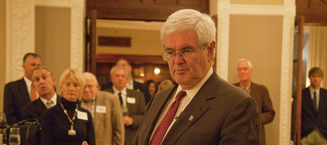 Newt Gingrich speaks Wednesday at the Eldridge Hotel before heading to a speech at the Dole Institute. The conservative author said Republicans would have enough time to field a high-quality candidate for 2012.