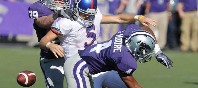 Todd Reesing fumbled twice in the first half against Kansas State in Manhattan Saturday, November 7, 2009.