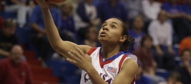 Kansas' Angel Goodrich tries to control the ball while attempting a shot during the Jayhawks' victory against Pittsburg State on Sunday, Nov. 1, 2009, at Allen Fieldhouse.