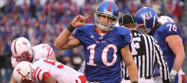 Kansas receiver Kerry Meier makes his way from the field after losing a fumble to Nebraska during the third quarter, Saturday, Nov. 14, 2009 at Memorial Stadium.