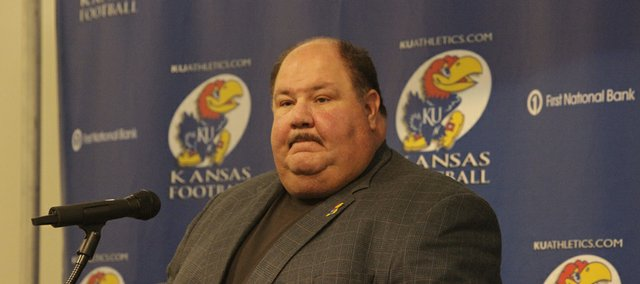 KU football coach Mark Mangino fielded questions about a recent meeting between football players and Athletic Director Lew Perkins at his weekly Tuesday press conference at the Anderson Family Football Complex.
