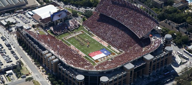 Texas' massive Darrell K. Royal-Texas Memorial Stadium will be the site of today's Kansas-Texas game. The Jayhawks enter as a 271⁄2- point underdog.