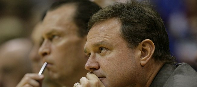 Kansas head coach Bill Self watches the action from the bench during the second half, Thursday, Nov. 19, 2009 at Allen Fieldhouse.