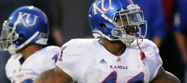 Kansas linebacker Arist Wright stands perplexed after a Colorado touchdown during the second quarter Saturday, Oct. 17, 2009 at Folsom Field.