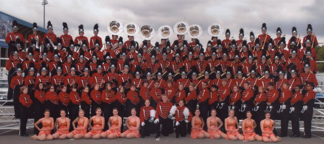 The Lawrence High school Marching Lions, pictured, won two grand championships in 2009. They just missed placing first at Kansas University's Heart of America Marching Festival.