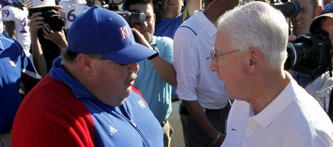 Several former colleagues, including Bill Snyder, Mike Leach, Bob Stoops and Al Bohl, voiced their support of Mark Mangino, KU football's embattled coach, Monday.