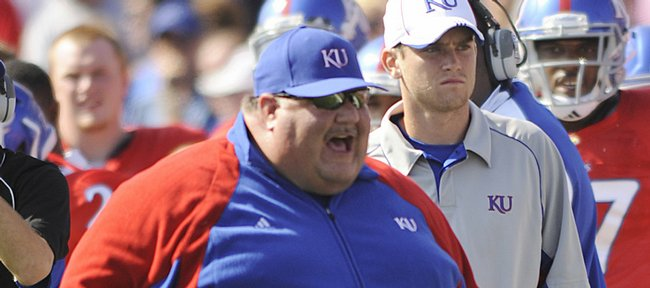 KU coach Mark Mangino yells from the sideline against Southern Mississippi on Saturday, Sept. 26, 2009 in Memorial Stadium.