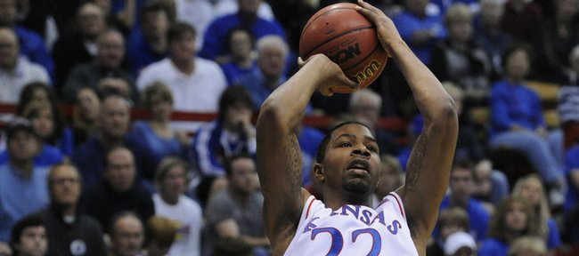 KU's Marcus Morris goes up for two against the Oakland Golden Grizzlies Wednesday, Nov. 25, 2009 at Allen Fieldhouse.