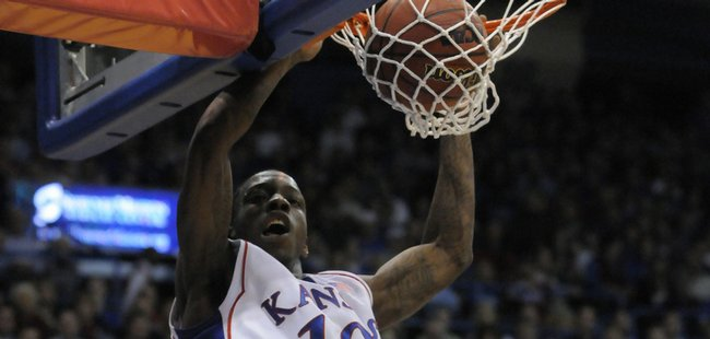 KU guard Tyshawn Taylor throws down against Tennessee Tech Friday, Nov. 27, 2009 at Allen Fieldhouse.