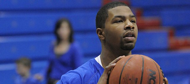 KU sophomore forward Marcus Morris warms up before taking on Tennessee Tech Friday, Nov. 27, 2009 at Allen Fieldhouse.