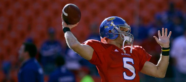 Kansas quarterback Todd Reesing warms up at Arrowhead Stadium before taking on Missouri in the 2009 Border Showdown.