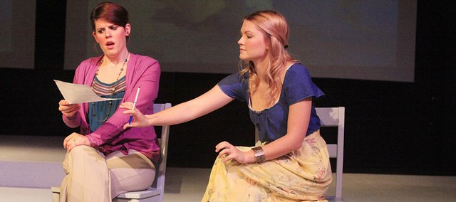 Elizabeth Elliott (left) playing Mama, and Kirby Anderson playing Dr. Zvavala, discuss Mama's son and his possible ADD.