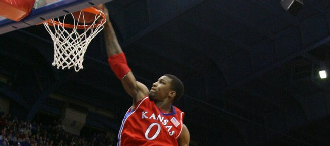Kansas forward Thomas Robinson throws down a dunk against Alcorn State during the second half, Wednesday, Dec. 2, 2009 at Allen Fieldhouse.