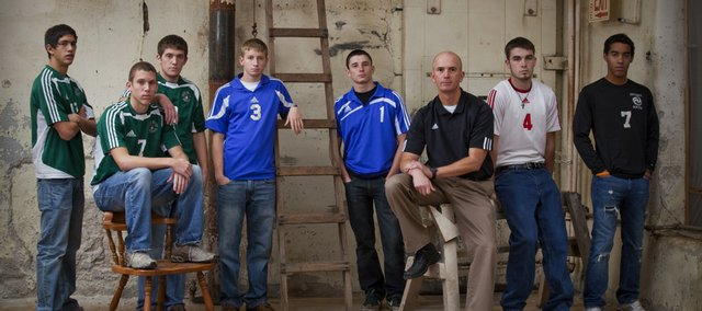 The 2009 All-Area boys soccer team included, from left, Diego Gonzalez, Alan Hornbaker and Daniel Chance, Free State High; Riley Shafer and John Mehl, Perry-Lecompton High; coach Jason Pendleton, Free State; Keaton Schaffer, Tonganoxie High, and Branden Ward, Ottawa High. Not pictured: Duncan Henderson, Sammy Seibolt and Tyler Buffkin, De Soto High.