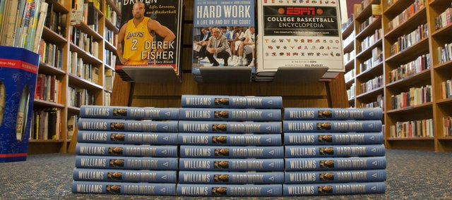 Former KU coach Roy Williams has a new book out, and copies are selling in Lawrence. This book display is at Borders, 700 N.H., which put in a second order for the books after brisk sales of the first shipment.