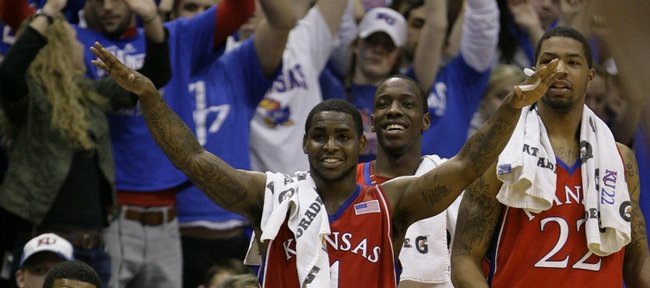 From left, Kansas players Markieff Morris, Sherron Collins, Tyshawn Taylor and Marcus Morris watch a free throw attempt by teammate Thomas Robinson, who struggled from the line against Alcorn State, during the first half, Wednesday, Dec. 2, 2009 at Allen Fieldhouse.