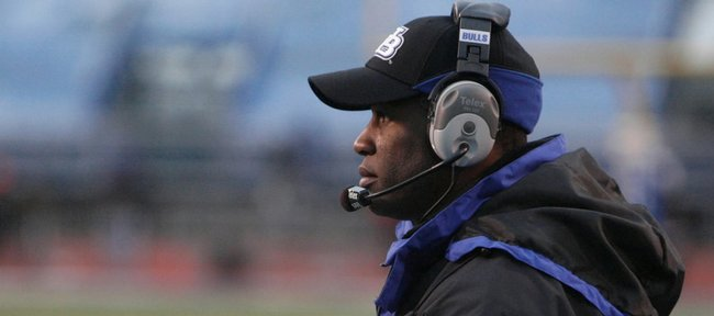 Turner Gill coaches Buffalo against Kent State in this file photo from November 28, 2008, in Amherst, N.Y. Gill will be introduced as Kansas University's head coach at a news conference today.