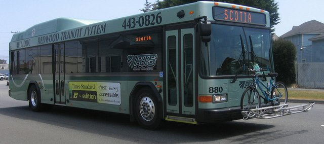 The Lawrence City Commission is considering adding three hybrid diesel-electric buses to its fleet. The buses, made by Gillig Corp., would be similar to this bus used by the Redwood Transit System in Humboldt County, Calif.