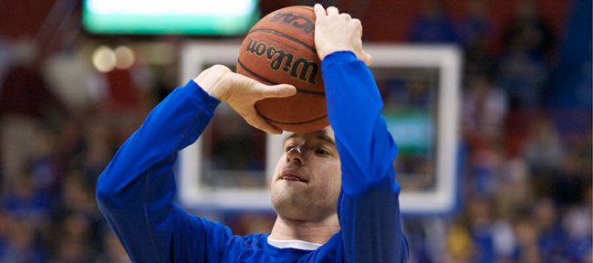 Kansas guard Brady Morningstar pulls up for a jumper during warmups prior to tipoff against Michigan, Saturday, Dec. 18, 2009 at Allen Fieldhouse.