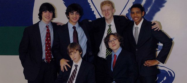 The Bishop Seabury Academy debate team was started by students this year and, despite having no coach, argued its way to the state Class 3A debate tournament in January. The team is made of, back row from left, Peter Cooney, sophomore, David Lawrence, junior, William Wolfe, junior, Guy Williams, junior, and, front row from left, Martin Sicilian, freshman, and Jacob Strayer, freshman.