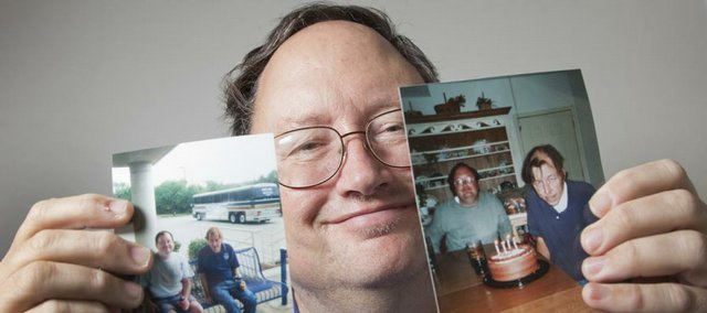 "John Schmidt holds his two favorite photos of him and his best friend, Carl Arentson. Arentson, who died in October, donated five of his organs to help save the lives of others. It's an act that Schmidt says he ""feels tremendously good about."""