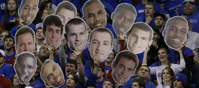 Familiar faces float around the northern student section of Allen Fieldhouse during the first half.
