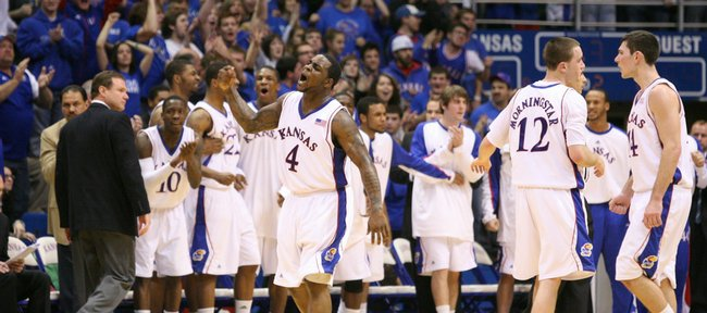 Kansas guard Sherron Collins pumps his fist after getting a bucket and a foul to put the Jayhawks ahead of Cornell during the second half, Wednesday, Jan. 6, 2009 at Allen Fieldhouse. Collins had a career-high 33 points.