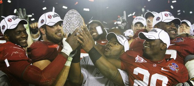 Alabama players celebrate their newly-won BCS Championship. Alabama beat Texas, 37-21, in the national title game Thursday in Pasadena, Calif.