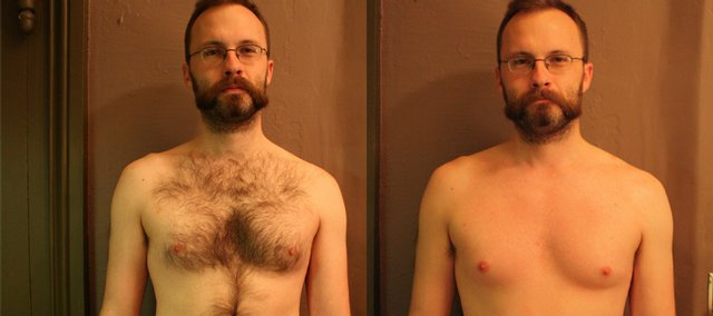 Gavon Laessig in before and after photos at his chest-waxing appointment at Salon Di Marco, 733 Mass. A survey from Remington indicates that 53 percent of women prefer that men undergo chest grooming.