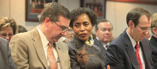 Kansas State University president Kirk Schulz with Kansas University Chancellor Bernadette Gray-Little at a Kansas Board of Regents meeting.