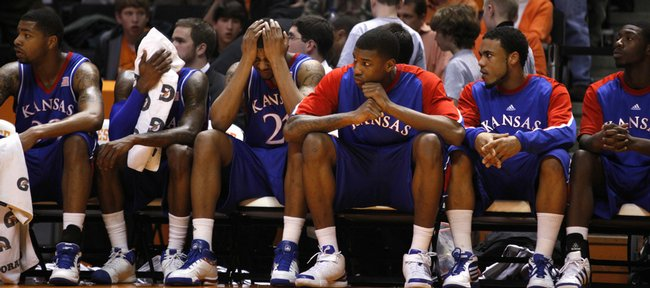 From left, Kansas players Marcus Morris, Tyshawn Taylor, Markieff Morris, Thomas Robinson, C.J. Henry and Elijah Johnson watch from the bench as time dwindles in the Jayhawks' 76-68 loss to Tennessee Sunday, Jan. 10, 2010 at Thompson-Boling Arena in Knoxville.