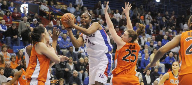 Kansas guard Danielle McCray puts up a shot against Oklahoma State Cowgirls Tuesday, Jan. 12, 2010 at Allen Fieldhouse.