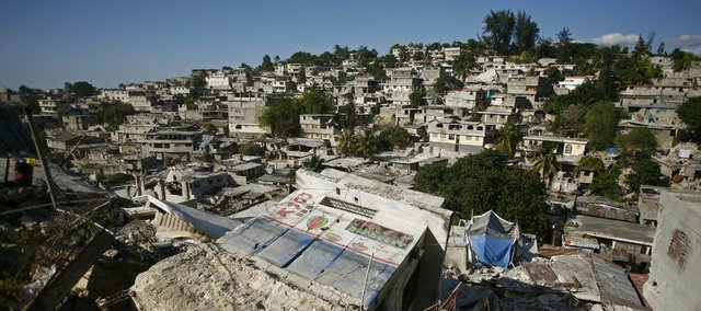 Damaged buildings are seen in Port-au-Prince, Haiti, Thursday.