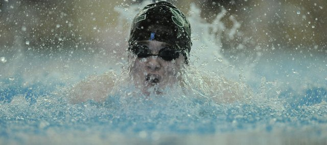 Free State's Nolan Frank takes a breath during the Free State Invitational on Thursday.