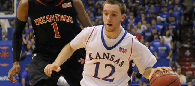 Kansas guard Brady Morningstar pushes the ball up the court against against Texas Tech Saturday, Jan. 16, 2010 at Allen Fieldhouse.