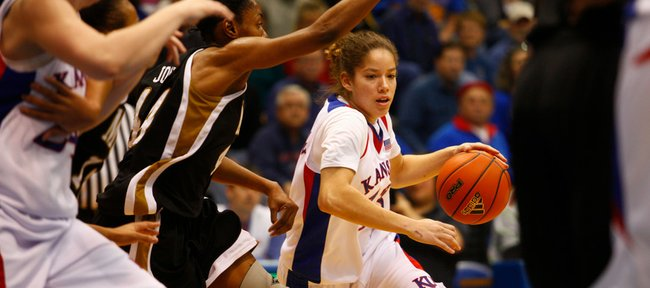 KU guard Monica Engelman tries to find an open path to the basket against the MU defense during the game on Sunday, Jan. 17, 2010, at Allen Fieldhouse.