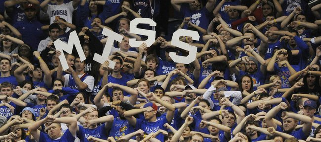 Kansas fans try to throw off a Texas Tech free throw attempt Saturday, Jan. 16, 2010 at Allen Fieldhouse.