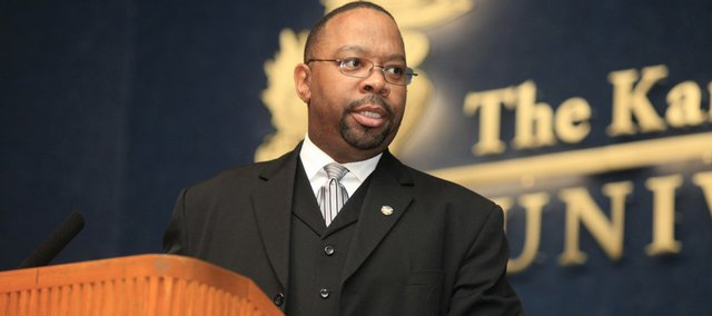 Dr. Lawrence Ragland, D.D., of Paris, Tenn., speaks at the 25th annual community celebration in honor of Martin Luther King Jr. Day on Monday at Woodruff Auditorium in the Kansas Union. Ragland was the keynote speaker at the event.