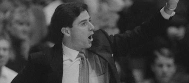 Kentucky Wildcat coach Rick Pitino gives instructions from the sidelines during KU's 150-95 blowout of Rick Pitino's Kentucky Wildcats in December, 1989.