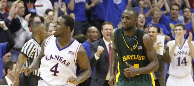Kansas guard Sherron Collins flashes his tongue after hitting a three pointer to boost the Jayhawks late in the second half, Wednesday, Jan. 20, 2010 at Allen Fieldhouse.